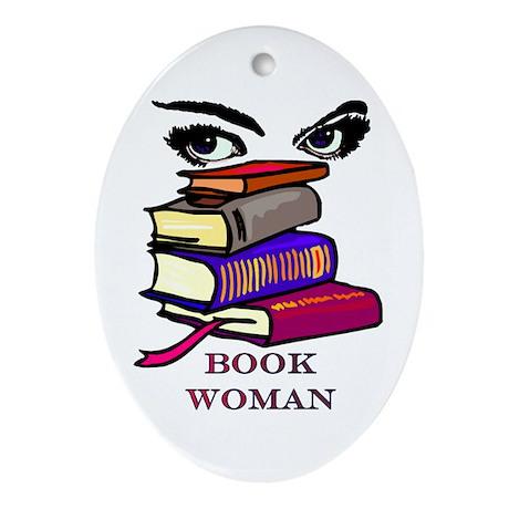 Book Woman Oval Ornament