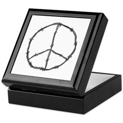 Barbed Wire Peace Sign Keepsake Box