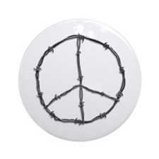 Barbed Wire Peace Sign Ornament (Round)