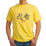 Samurai Ninja Kanji Yellow T-Shirt