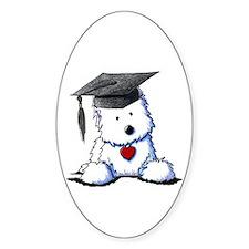Westie Graduate Oval Sticker (10 pk)