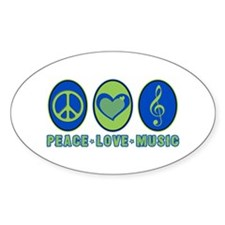 PEACE - LOVE - MUSIC Oval Bumper Stickers