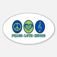 PEACE - LOVE - MUSIC Oval Decal