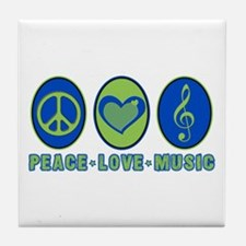 PEACE - LOVE - MUSIC Tile Coaster
