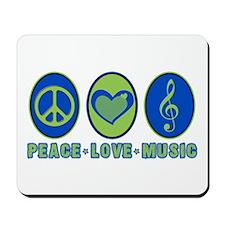 PEACE - LOVE - MUSIC Mousepad