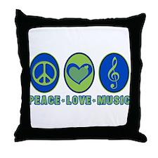 PEACE - LOVE - MUSIC Throw Pillow
