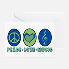 PEACE - LOVE - MUSIC Greeting Cards (Pk of 10)