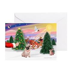 Santa's Treat/Pug (#2F) Greeting Cards (Pk of 20)