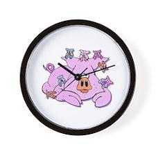 Pink Pig & Piglets Wall Clock