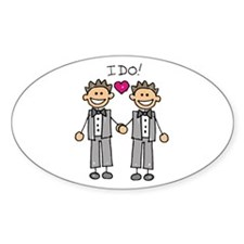 Gay Marriage - I Do Oval Decal