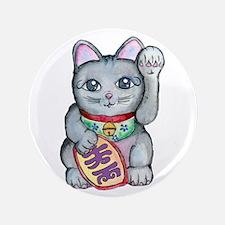 """Lucky Cat Maneki Neko 3.5"""" Button"""