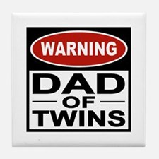 Dad of Twins Tile Coaster