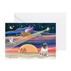 Xmas Star & Pug (#18F) Greeting Cards (Pk of 10)