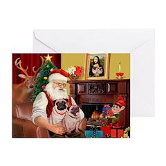 Santa's fawn Pug pair Greeting Cards (Pk of 10)
