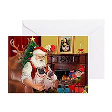 Santa's fawn Pug pair Greeting Cards (Pk of 20)