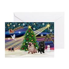 X Mas Magic/Pug Pair Greeting Cards (Pk of 20)