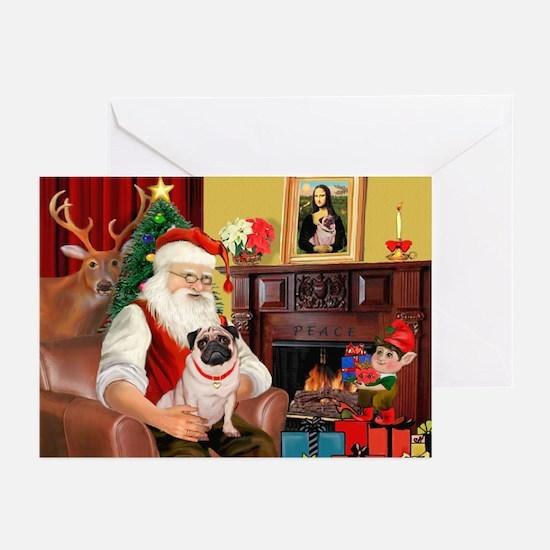 Santa's fawn Pug (#21) Greeting Cards (Pk of 20)