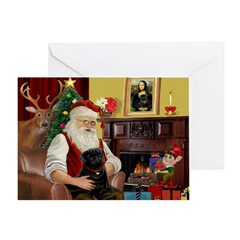 Santa's Black Pug Greeting Card