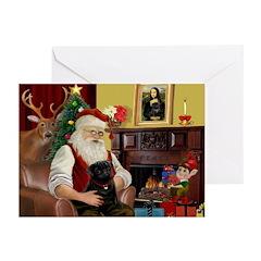 Santa's Black Pug Greeting Cards (Pk of 10)