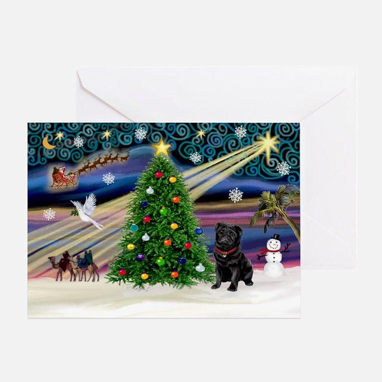 Xmas Magic & Black Pug Greeting Card