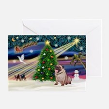 Xmas Magic & Pug Greeting Card