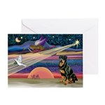 Xmas Star & Rottie Greeting Card