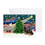 XmasMagic/2 Rotties Greeting Card