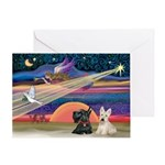 Xmas Star / 2 Scotties Greeting Card