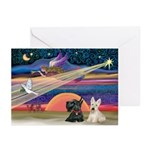 Xmas Star / 2 Scotties Greeting Cards (Pk of 20)