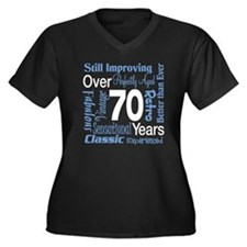 Over 70 years, 70th Birthday Women's Plus Size V-N
