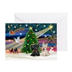 XmasMagic/2 Scotties (P3) Greeting Card