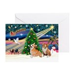 XmasMagic/2 Corgis (P2) Greeting Card