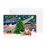 XmasMagic/2 Corgis (P3) Greeting Card