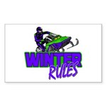 Winter Rules Rectangle Sticker