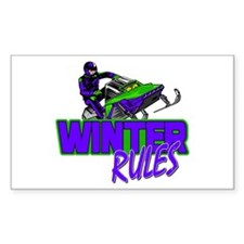 Winter Rules Rectangle Decal