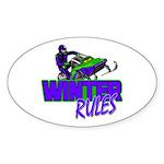 Winter Rules Oval Sticker