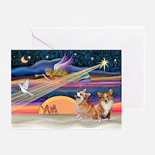 Xmas Star/2 Corgis (P2) Greeting Cards (Pk of 10)