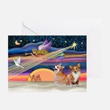 Xmas Star/2 Corgis (P2) Greeting Cards (Pk of 20)