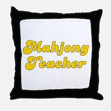 Retro Mahjong Tea.. (Gold) Throw Pillow