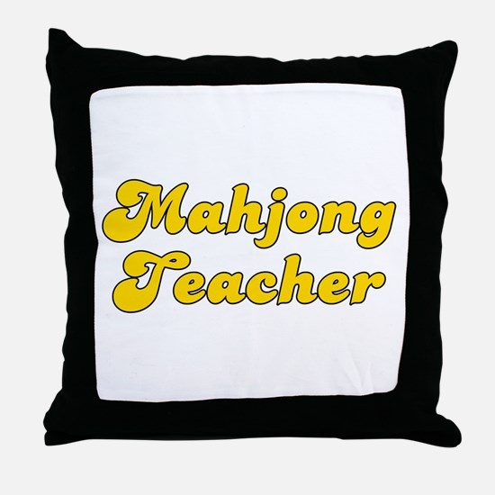 Retro Mahjong Tea.. (Gold) Throw Pillow