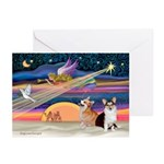 XmasStar/2 Corgis (P1) Greeting Cards (Pk of 10)