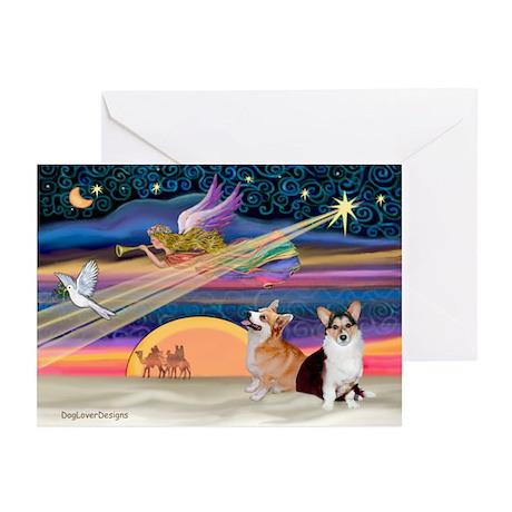 XmasStar/2 Corgis (P1) Greeting Cards (Pk of 10)