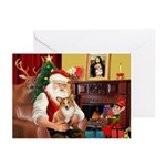 Santa's Corgi (#3P) Greeting Cards (Pk of 10)