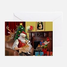 Santa's Welsh Corgi (7b) Greeting Cards (Pk of 10)