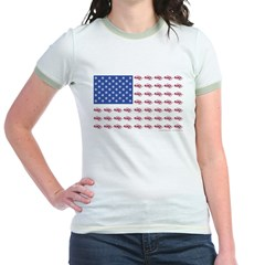 American Flag Made of Snowmobiles T