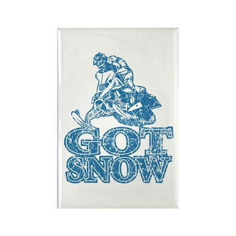 Got Snow Distressed Image in Rectangle Magnet