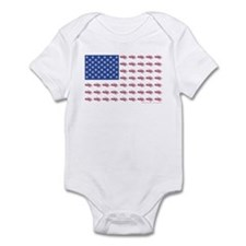 American Flag Made of Snowmobiles Infant Bodysuit