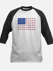 American Flag Made of Snowmobiles Kids Baseball Je