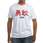 Samurai Brave Kanji (Front) Fitted T-Shirt