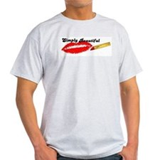 SIMPLY BEAUTIFUL HOT LIPS Ash Grey T-Shirt